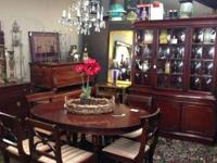 Antique Duncan Phyfe Dining Room Table W / Chairs &