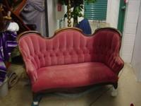Beautifully upholstered in rose and white striped