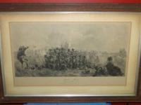 Antique English Framed Military Print Quatra Bras 1815