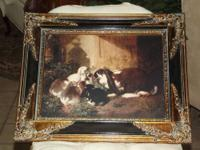 Antique English Lop-Ear Rabbits Picture in Gold, Black