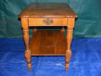 This item is an antique, oak, Single Drawer, End Table