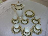 Fine china antique cocoa set, hand painted, pastel