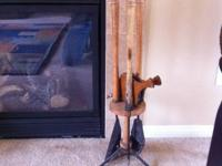 Antique fireplace tool set consists of the stand,