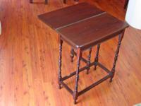 Antique Folding-top Side Table with Hidden Storage,