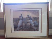 "Antique Framed Fine Art Print Sepia Tone ""The Angelus"""