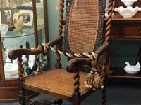 Antique French Carved Oak and Caned Arm Chair On Sale