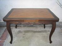 Louis XV-style solid oak extending dining table. Top
