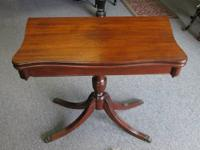 Antique mahogany video game or card table with flip-up