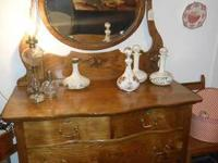Beautiful antique dresser with chival mirror, hat box,