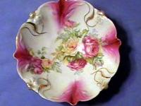"Rose theme antique bowl -- 10 1/2 "" across and over 3 """