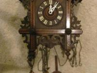 RARE ANTIQUE GERMAN RAIL ROAD STYLE CUCKOO CLOCK FROM