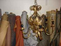 Unique antique gold finish metal tole chandelier. With