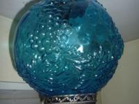. 60's grape glass hanging lamp. Lamp does work, but