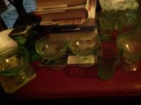 Antique green glassware various pieces. Make offer