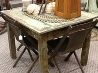 Farmhouse style square table. Distressed green table.