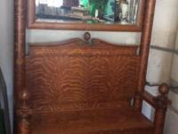 Impressive antique hall tree! Tiger oak with beveled