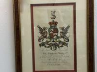 Antique Hand Colored Armorial Engraving In Burlwood