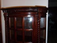 Antique hanging cherry curio cabinet lot's of glass and