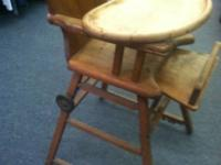 This is a very old high chair.  Not exactly sure the