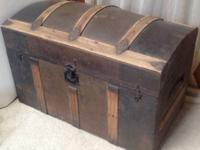 Antique Iron Chest Trunk w/Wood = * More then 100 yrs
