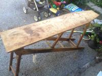 This antique ironing board makes a great sideboard/