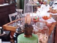 Beautiful antique jadeite kerosene lamp for sale -