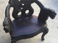 Antique JAPANESE ARM CHAIR Chinese DRAGON THEME Hand