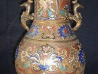 For sale is a beautiful antique Japanese champleve vase