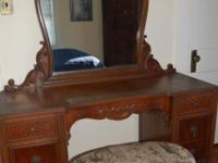 A J. B. Van Sciver walnut dressing table, with a shell