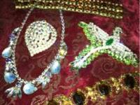 Tons of antique jewelry , rhinestone Juliana cherry