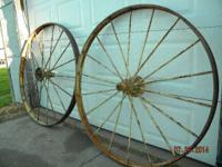 Great Yard Art 2 John Deere steel hay rake wheels 54""