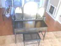 Antique ladies vanity/dresser black w/ hand stenciled