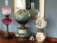 For sale, 3 antique lamps: #1 Double burner hand blown