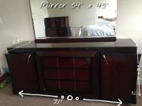Dresser 32H x 71L x 23W With mirror 44H x 54L Three