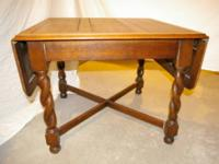Antique leaf table with barley twist legs 3ftx3ft