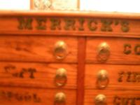 Antique Light Oak Spool Cabinet For Sewing. This is A