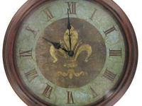 This wall clock features an antique copper frame made