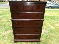 Antique Mahogany 5 Drawer Chest on Chest Dresser - 250