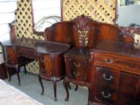 Antique Mahogany Bedroom Set - 8 Matching Pieces. This