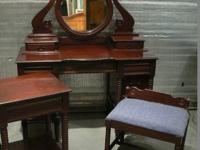 Lovely strong wood mahogany vanity set. Set includes