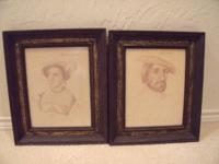 Pair of Antique Portrait Prints of Holbein Engravings