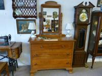 For Sale: Maple dresser, three drawers, with mirror.