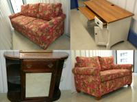 Antique marble top credenza and living room suite for