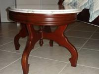 Stylish antique marble top mahogany coffee table for