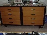 Mid Century 50's furniture real wood. Golden front with