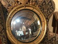 "Antique Milch Convex Gilt Mirror with Eagle 34"" High x"