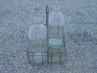 Antique Milk Carrier With 2 Bottles, metal carrier that