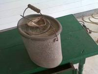 Antique Minnow Bucket with original insert and dipper.