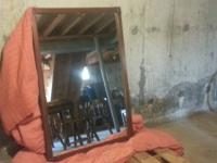 "Mirror 35""x51""  Maple wood frame, wood backing, very"