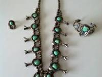 Uncommon Antique Squash blossom Necklace with a
